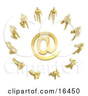 Group Of Gold Businesspeople Surrounding A Golden At Symbol Clipart Illustration Graphic by 3poD