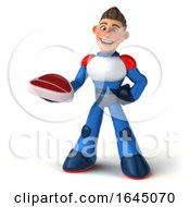 Poster, Art Print Of 3d White Male Super Hero In A White Blue And Red Suit On A White Background