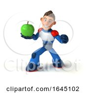 3d White Male Super Hero In A White Blue And Red Suit On A White Background by Julos