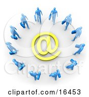Group Of Blue Businesspeople Surrounding A Yellow At Symbol Clipart Illustration Graphic