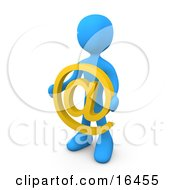 Blue Person Holding A Yellow At Symbol In Front Of Him Clipart Illustration Graphic