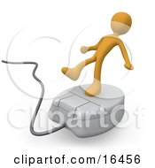 Orange Person Trying To Maintain His Balance While Riding On A White Computer Mouse And Surfing The Internet
