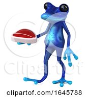 Poster, Art Print Of 3d Blue Springer Frog On A White Background