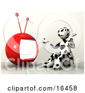 Black And White Cow Patterned Person Shrugging And Sitting In Front Of A Red Television