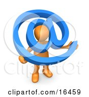 Orange Person Holding A Blue At Symbol With His Head Peeking Through The Center