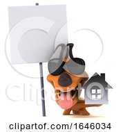 Poster, Art Print Of 3d Orange Dog On A White Background