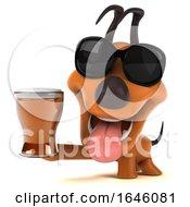 Poster, Art Print Of 3d Orange Dog On A White Background