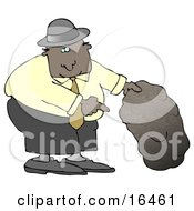 African American Man In A Black Hat Blue Shirt Slacks And Gray Shoes Holding Up A Rock And Pointing Underneath It Clipart Illustration Graphic