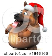 3d Christmas German Shepherd Dog On A White Background by Julos