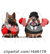 3d Business German Shepherd And Bulldog Wearing Boxing Gloves On A White Background by Julos