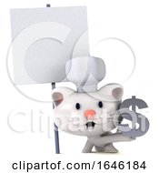 3d White Kitten Chef On A White Background