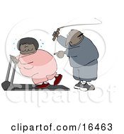 African American Man In Sweats Swinging A Whip While Telling His Blond Wife To Keep Exercising On A Treadmill