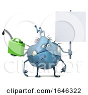 3d Blue Germ Monster On A White Background