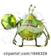 3d Green Germ Monster On A White Background