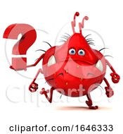 3d Red Germ Monster On A White Background