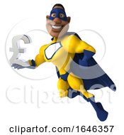 3d Buff Black Male Yellow And Blue Super Hero On A White Background