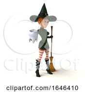 3d Sexy Green Witch Holding A Tooth On A White Background