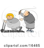 Caucasian Man In Sweats Swinging A Whip While Telling His Blond Wife To Keep Exercising On A Treadmill Clipart Illustration Graphic