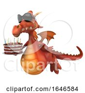 Poster, Art Print Of 3d Red Dragon On A White Background