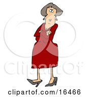 Angry Caucasian Woman In A Red Dress And Heels Standing With Her Arms Crossed And Tapping Her Foot With A Stern Expression On Her Face Clipart Illustration Graphic