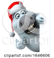 3d Chubby White Christmas Horse On A White Background