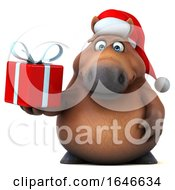 3d Chubby Brown Christmas Horse On A White Background