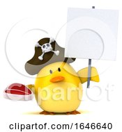 Poster, Art Print Of 3d Yellow Bird Pirate On A White Background