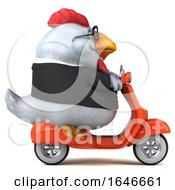 Poster, Art Print Of 3d White Business Chicken Riding A Scooter On A White Background