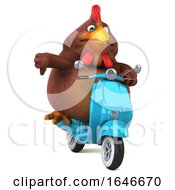 3d Chubby Brown Chicken Riding A Scooter On A White Background