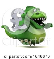 3d Green T Rex Dinosaur Holding A Pound Currency Symbol On A White Background