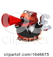 3d Red Business T Rex Dinosaur Holding A Pound Currency Symbol On A White Background
