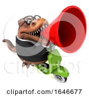 3d Brown Business T Rex Dinosaur Riding A Scooter On A White Background