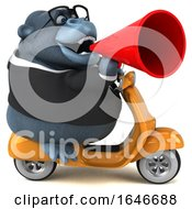 3d Business Gorilla Mascot Riding A Scooter On A White Background