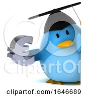 3d Chubby Blue Bird Graduate On A White Background