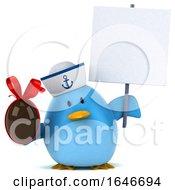 3d Blue Bird Sailor On A White Background