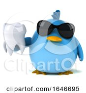 3d Chubby Blue Bird On A White Background