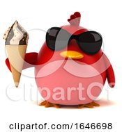 3d Red Bird On A White Background