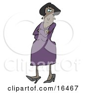 Angry African American Woman In A Purple Dress And Heels Standing With Her Arms Crossed And Tapping Her Foot With A Stern Expression On Her Face