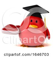 Poster, Art Print Of 3d Red Bird Graduate Holding A Plate On A White Background