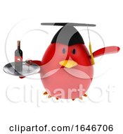 3d Red Bird Graduate Holding A Plate On A White Background