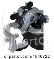 Poster, Art Print Of 3d Black Business Bull Holding A Pound Currency Symbol On A White Background