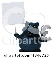 3d Black Kitty Cat Holding A Pound Currency Symbol On A White Background