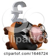 Poster, Art Print Of 3d Brown Business Cow On A White Background