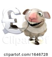 3d Sheep Holding A Pound Currency Symbol On A White Background
