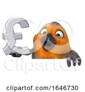 3d Robin Bird Holding A Pound Currency Symbol On A White Background
