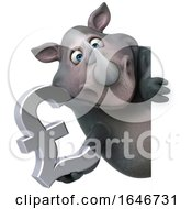 3d Rhinoceros On A White Background