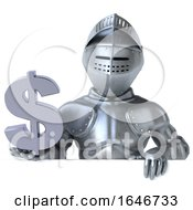 3d Armored Knight Holding A Dollar Sign On A White Background