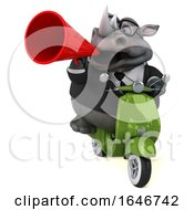 Poster, Art Print Of 3d Business Rhinoceros Riding A Scooter On A White Background