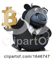 3d Black Business Bull Holding A Bitcoin Symbol On A White Background