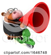 Poster, Art Print Of 3d Brown Business Cow Riding A Scooter On A White Background